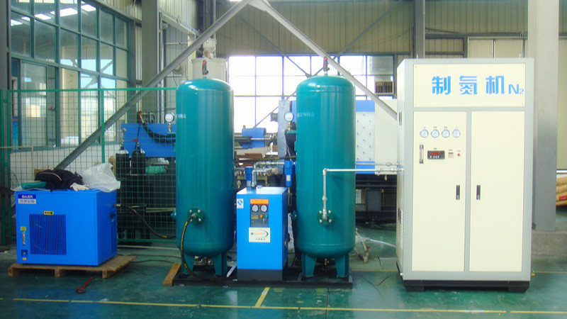 High Pressure Nitrogen Generator With Atlas Copcp Air Compressor / Gas Storage Tank